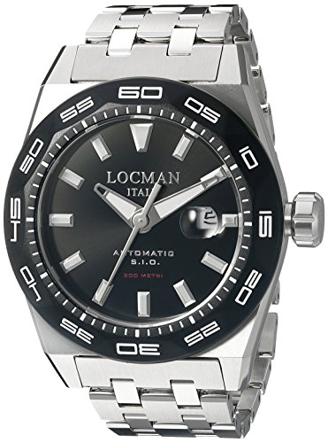 Locman Italy Men's 0215V1-0KBKNKSBR0 Stealth 300 Metri Analog Display Automatic Self Wind Silver Watch by Locman Italy