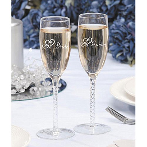 (Victoria Lynn Bride and Groom Double Heart Wedding Toasting Glasses 8