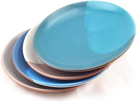Hostelnovo - Juego de 4 Platos Llanos de cerámica - Plato para Comida - Fabricado en España y Pintado a Mano - Cerámica Natural - 4 Colores: Azul, Verde Turquesa, Gris y Blanco - 23 cm - 4 Unidades: Amazon.es: Hogar