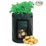 Cheap 2-Pack Vegetables Grow Bags, 7 Gallon Durable Water Resistant Garden Potato Grow Bag with Handles and Access Flap for Harvesting