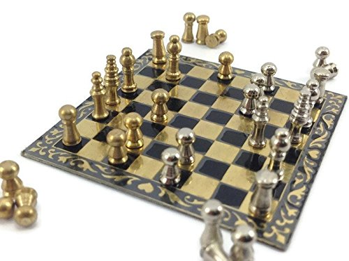 - Mini Chess Set Miniature Brass Decoration Doll House Collection