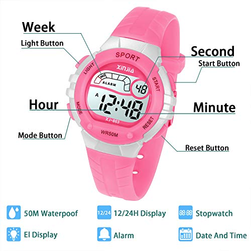 Price comparison product image Kids Digital Watch,Boys Girls Sports Outdoor LED 50M(5ATM) Waterproof Multi Functional Wrist Watches with Alarm for Children,Girls,Boys (Pink)