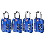 Forge TSA Locks 4 Pack Blue - Open Alert Indicator, Easy Read Dials, Alloy Body