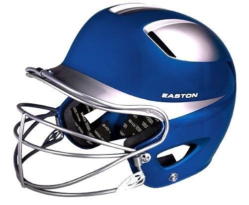 Easton Natural Two-Tone Junior Batting Helmet with Mask, Royal/Silver