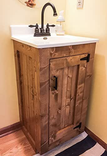 Amazon Com Bathroom Vanity Rustic Wood Cabinet With New