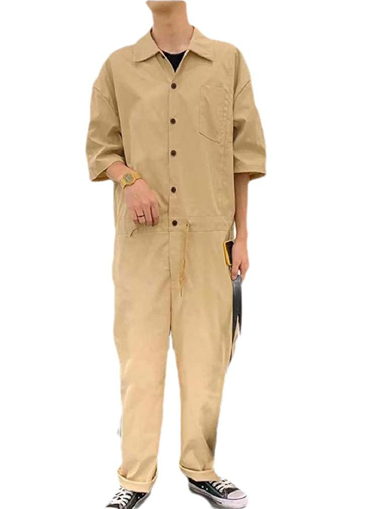 HEFASDM Mens Jumpsuits Solid-Colored Baggy Western Shirt Casual Work Pant