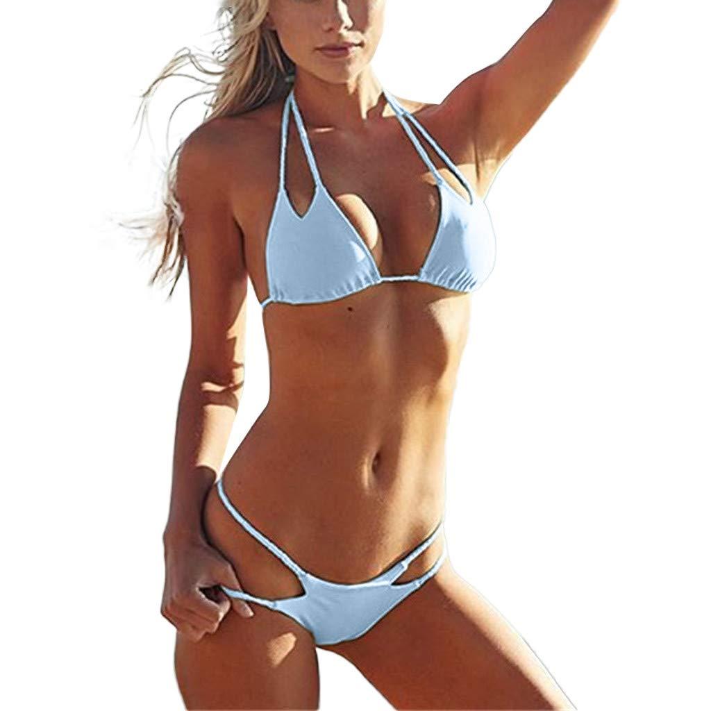 Quelife Womens Sexy Sólido Vendaje Monokini Cuello en V sin espalda Vestido de baño de tiras sin tirantes Conjunto de traje de baño
