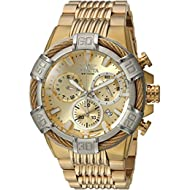 Men's 'Bolt' Quartz Stainless Steel Casual Watch, Color:Gold-Toned (Model: 25868)
