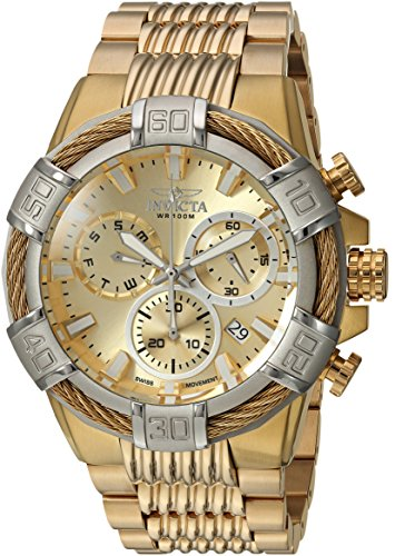 Invicta Men's 'Bolt' Quartz Stainless Steel Casual Watch, Color:Gold-Toned (Model: 25868)