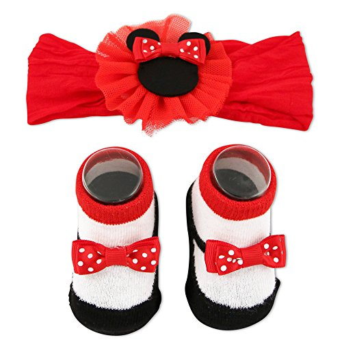 Disney Baby Girls Minnie Mouse Headwrap and Booties Gift Set, Red, 0-12M