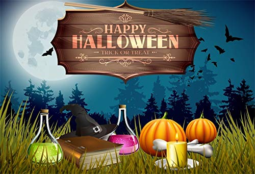 OFILA Halloween Backdrop 9x6ft Happy Halloween Photography Background Magic Potion Sorcerer Hats Kids Halloween Trick or Treat Events Enchanted Forests Photos Props]()
