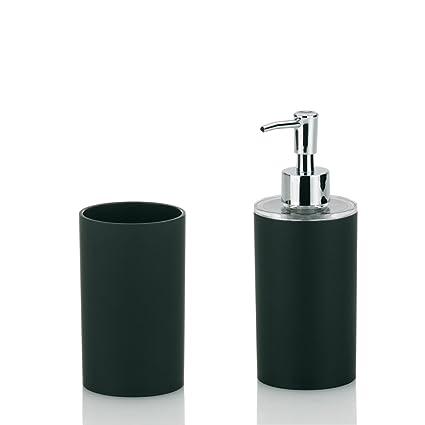 Kela 390100 Dark - Juego de accesorios para el baño (2 vasos y 1 dispensador