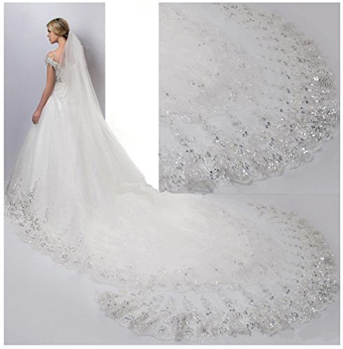 Simlehouse 4 Meter Beaded Crystal Cathedral Wedding Veils Sequins Bridal Veil With Comb