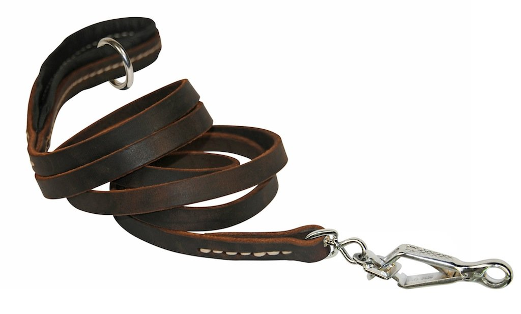 Dean & Tyler Soft Touch 1 2-Inch Black Padding Dog Leash with Brown Stainless Steel Ring on Handle and Herm Sprenger Snap Hook, 2-Feet by 1 2-Inch