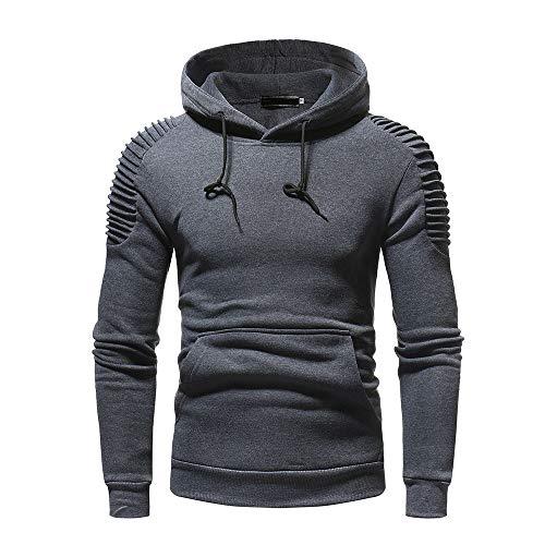 ◕‿◕ Toponly Mens Winter Pleats Slim Fit Raglan Long Sleeve Hoodie Top Blouse (Dark Gray, XXL) -