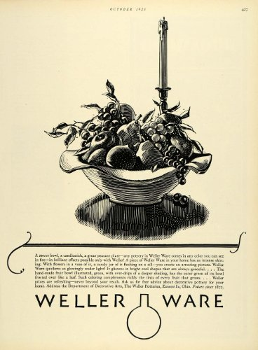 1928 Ad Weller Potteries Ohio Fruit Bowl Ware Candlestick Decorative Arts - Original Print Ad from PeriodPaper LLC-Collectible Original Print Archive