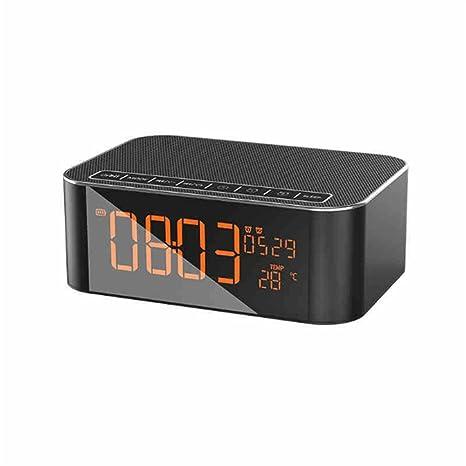 Smart Wireless Bluetooth Speaker Touch Carga Noche Luz Despertador Reloj De Pantalla Grande para Smartphone,