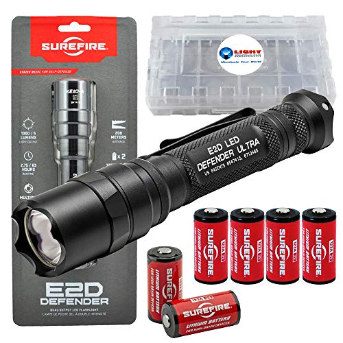 SureFire E2D Defender Ultra E2DLU-A Dual-Output 1000 Lumens Tactical LED Flashlight Bundle with 4 Extra CR123A Batteries and a LightJunction Battery Case