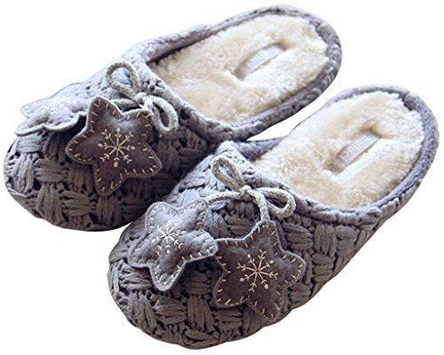 Minetom Mujer Otoño E Invierno Suave Interior Antislip Zapatillas Decorado Con Estrellas Pantuflas Gris