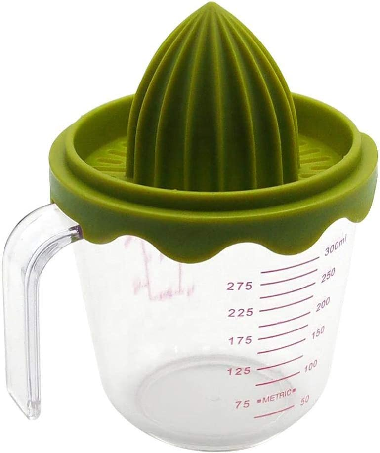 Manual Juicer Citrus Lemon Orange Hand Squeezer with Built-in Measuring Cup and Grater, 300ml, Green