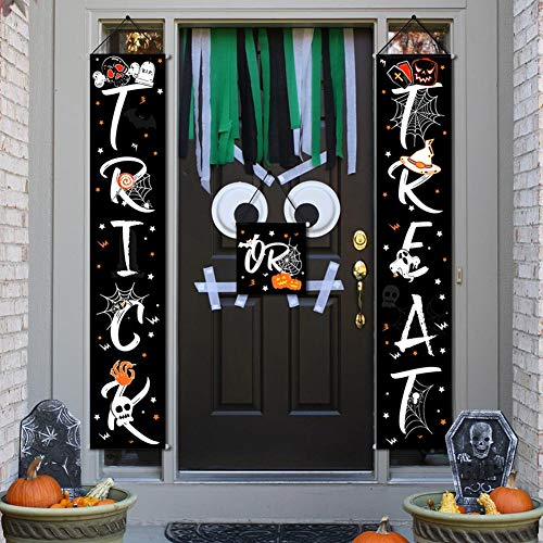 Funny Halloween Office Decorations (OurWarm Trick or Treat Halloween Banner Set, 3pcs Colorful Halloween Decorations Outdoor Signs for Home Garden Office Porch Front Door Hanging)
