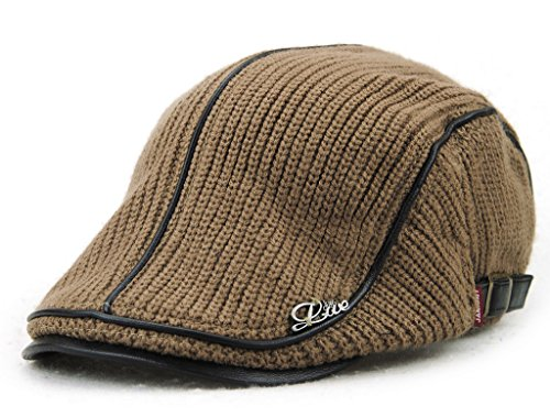 MOTINE Men's Knitted Wool Driving duckbill Hat Warm newsboy Flat Scally Cap(Coffee02)