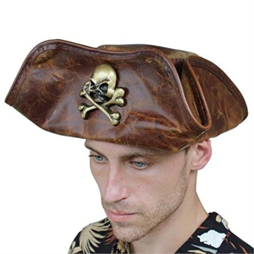 Brown Leather Sea Dog Pirate Costume Hat (Sea Dog Costume)