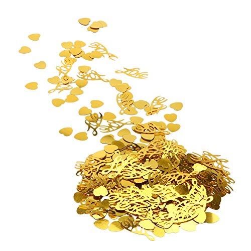 Whitelotous 1200pcs Sparkle Love Confetti Heart Metal Confetti for Wedding Decor Party Accessory (Gold)