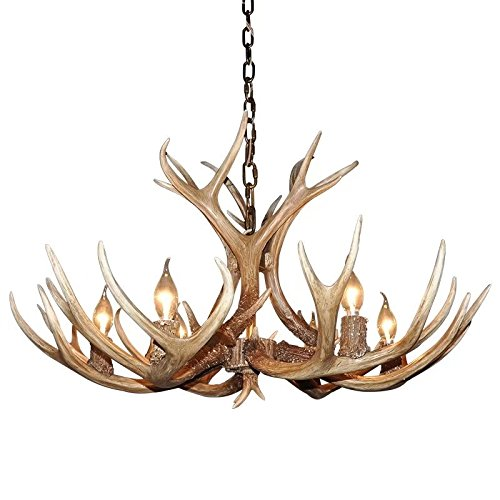 EFFORTINC Antlers vintage Style resin 6 light chandeliers, American rural countryside antler chandeliers,Living room,Bar,Cafe, Dining room deer horn chandeliers (Antler Bar)