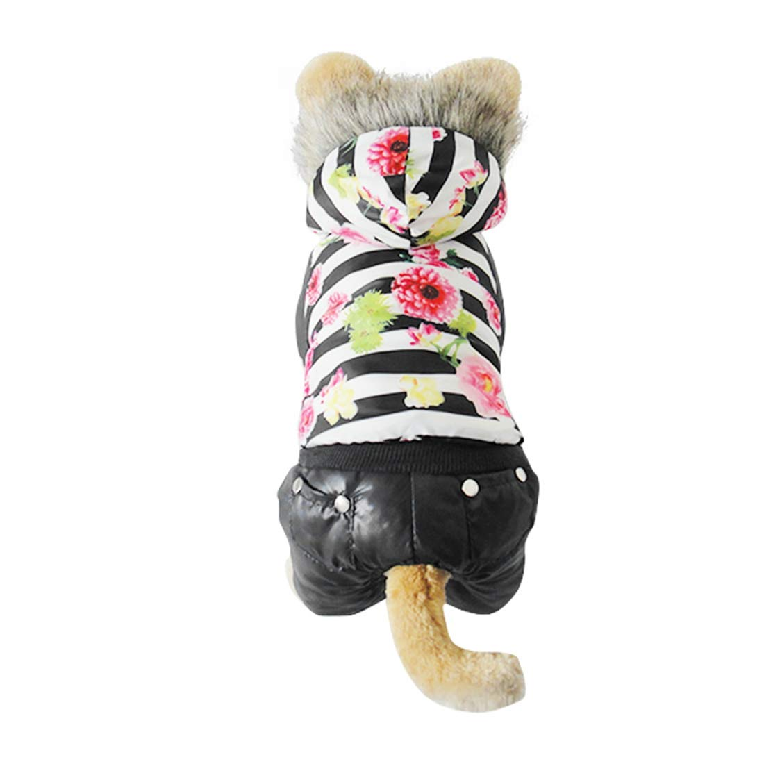 Black XL Black XL MISSKERVINFENDRIYUN YY4 Autumn and Winter Season Pet Clothes Luxury Fur Flower Down Jacket Dog Clothing (color   Black, Size   XL)