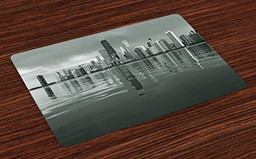 Ambesonne Chicago Skyline Place Mats Set of 4 by, Nostalgic Weathered Lake Michigan Harbor Coastal Town Urban Vintage, Washable Placemats for Dining Room Kitchen Table Decoration, Black and White