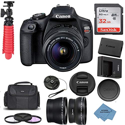 Canon EOS Rebel T7 DSLR Camera with 18-55mm DC III Lens and 32GB Memory Card, Carrying Case, Filters, Extreme Electronics Cloth + More