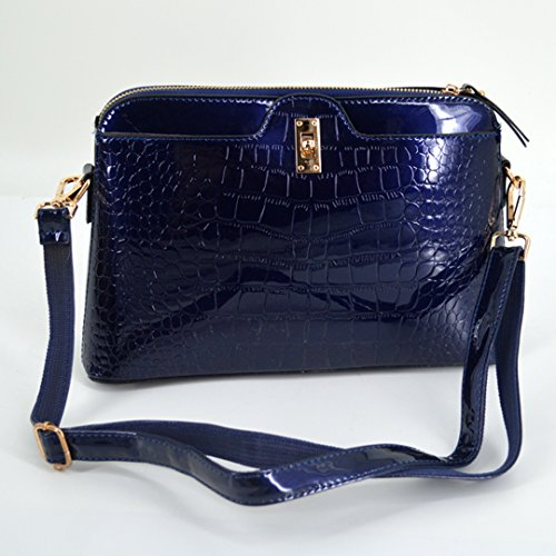 Clutch Red Shiny Handbag Blue body Pattern Patent Zipper Cross Bag Shoulder Alligator Bag LA HAUTE Leather Wine ZA7qxwF