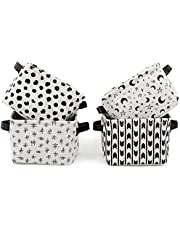 Farmlyn Creek Collapsible Black and White Storage Bins, Small Canvas Baskets (4 Pack)