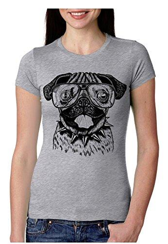 Crazy Dog T-Shirts Womens Funny Pug T-Shirt Hilarious Hipster Dog Tee With Cute Retro Print (Grey) M (T-shirt Pug Off)