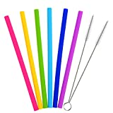 Outus 6 Pieces Drinking Straws Silicone Straight Drinking Straw with 2 Pieces Cleaning Brush for YETI/ RTIC Rambler Tumbler 30 Ounce/ 20 Ounce
