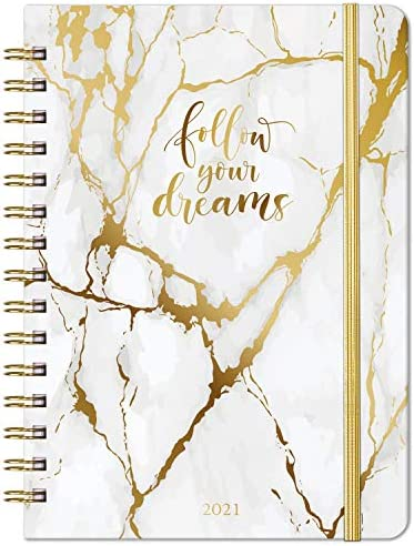 "2021 Planner - Weekly & Monthly Planner with Tabs, 6.3"" x 8.4"", Jan. - Dec. 2021, Hardcover with Pocket + Thick Paper + Banded, Twin-Wire Binding - White Marble"