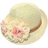 Dealzip Inc? Sweet Kids Little Girls Summer Straw Beach Sun Hat with Flower Accent (Beige)