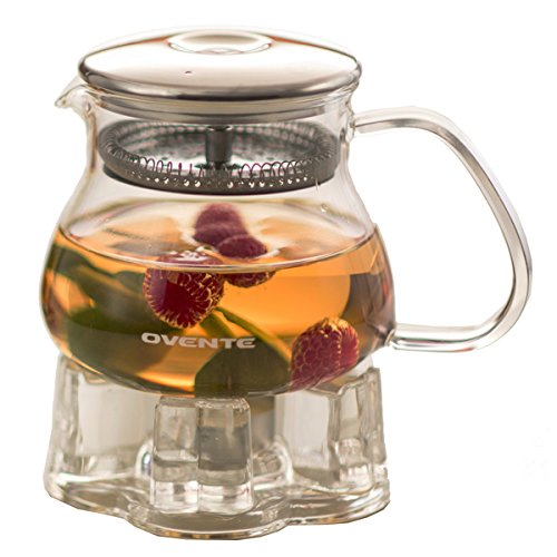 Ovente 17 Ounce Glass Teapot and Stainless Steel Infuser Lid with Tea Warmer