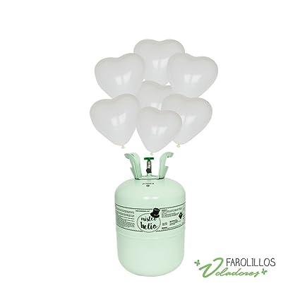 Bombona de helio pequeña+ 30 globos corazón blanco