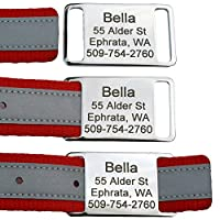 Slide-On Pet ID Tags. Personalized Dog & Cat Tags. Silent, No Noise Collar Tags made of Stainless Steel. Custom Engraved. Includes up to 4 Lines of Personalized Text.