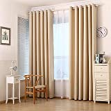 Blackout Darkening Thermal Insulated Big Window Curtains High Gate Drapes Curtain Panels, with Silence Grommet Top, 1 Panel (114″ Wx96 L, BEIGE) Review