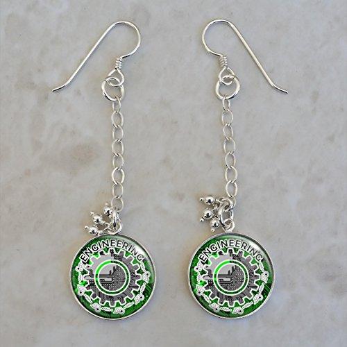 (Engineering Sterling Silver Earrings)