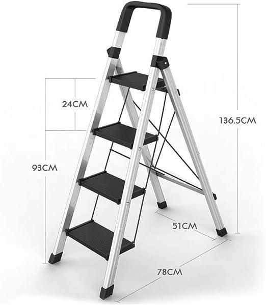 Escaleras plegables peldaños, 4-Paso Escalera de Aluminio, Cocina plegable portátil de tijera, Hogares de Propósitos Múltiples Paso de heces con Anti-Slip Mat, 330lbs Capacidad (Color : Silver) : Amazon.es: Hogar