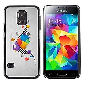 LECELL--Funda protectora / Cubierta / Piel For Samsung Galaxy S5 Mini, SM-G800, NOT S5 REGULAR! -- Drawing Stripes Abstract Grey Gray --