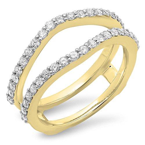 Dazzlingrock Collection 0.50 Carat (ctw) 10K Yellow Gold Diamond Wedding Band Enhancer Guard Double Ring 1/2 CT (Size (Diamond Accent Enhancer)