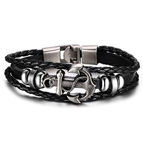 Time Pawnshop Handmade Braided Leather Anchor Punk Men Wrist Bracelet