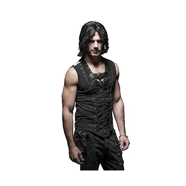 Punk Rock Man Cotton Leather Belt Sleeveless T-Shirt Front Strap Vest Bandage Casual Tank Tops 3