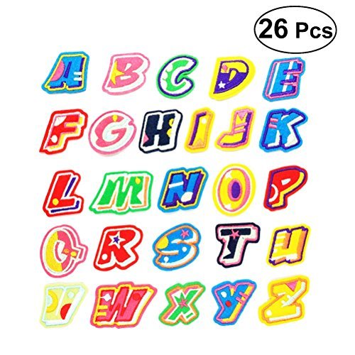 ULTNICE 26Pcs Letters Patches Cartoon Embroidery Sewing Patches Appliques (Each Letter/Style)