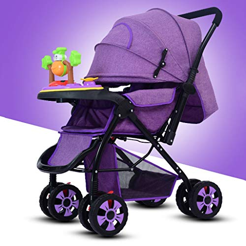 STRR Baby Stroller, Foldable and Portable Pram Carriage Pushchair, 5-Point Harness and High Capacity Basket (Color : Purple)